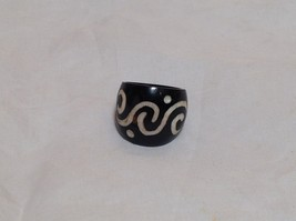 Wide Band Wooden Ring Handcrafted Double Swirl Design  Size 5 8 or 9