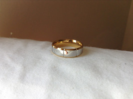 Wide Band Segmented Silver and Gold Plated Ring Size 8, 9
