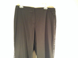 Willi Smith Stretch Dark Brown Casual Pants Crystals Down Side of Pants Size 14