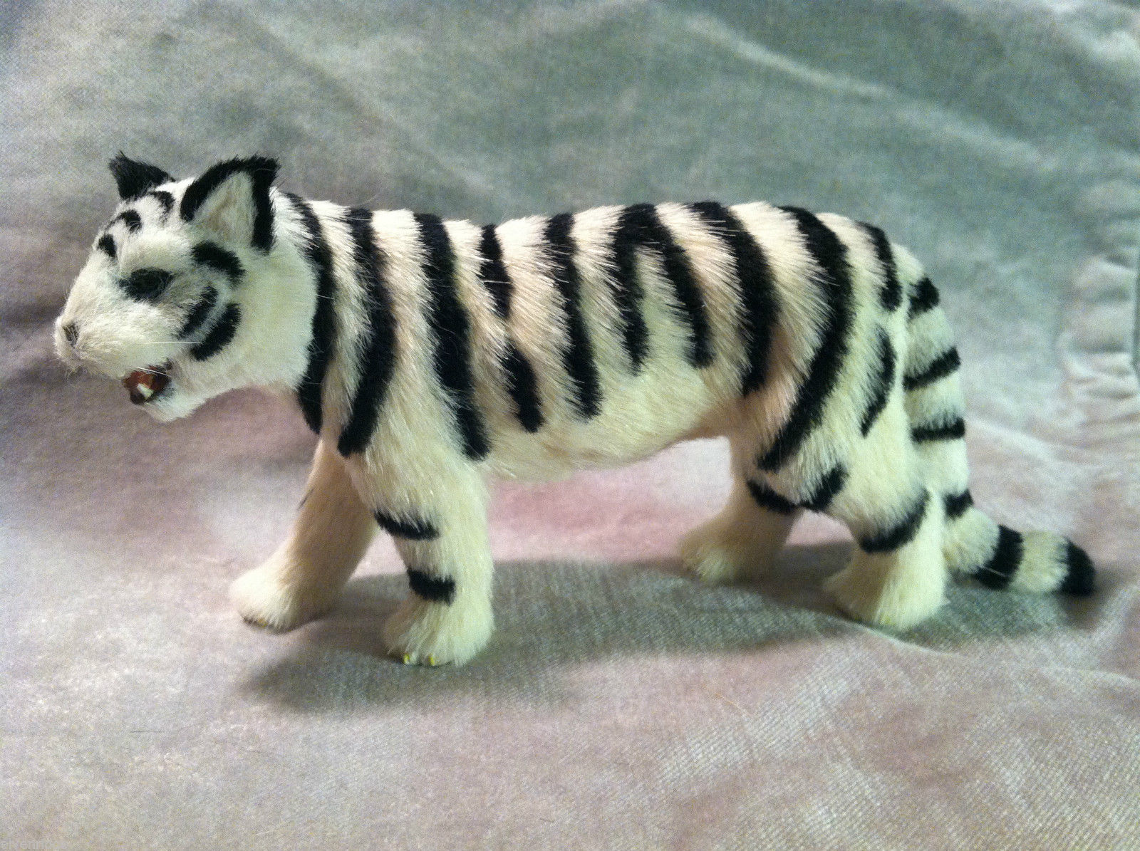 Wild White Snow Tiger Cat Animal Figurine - recycled rabbit fur