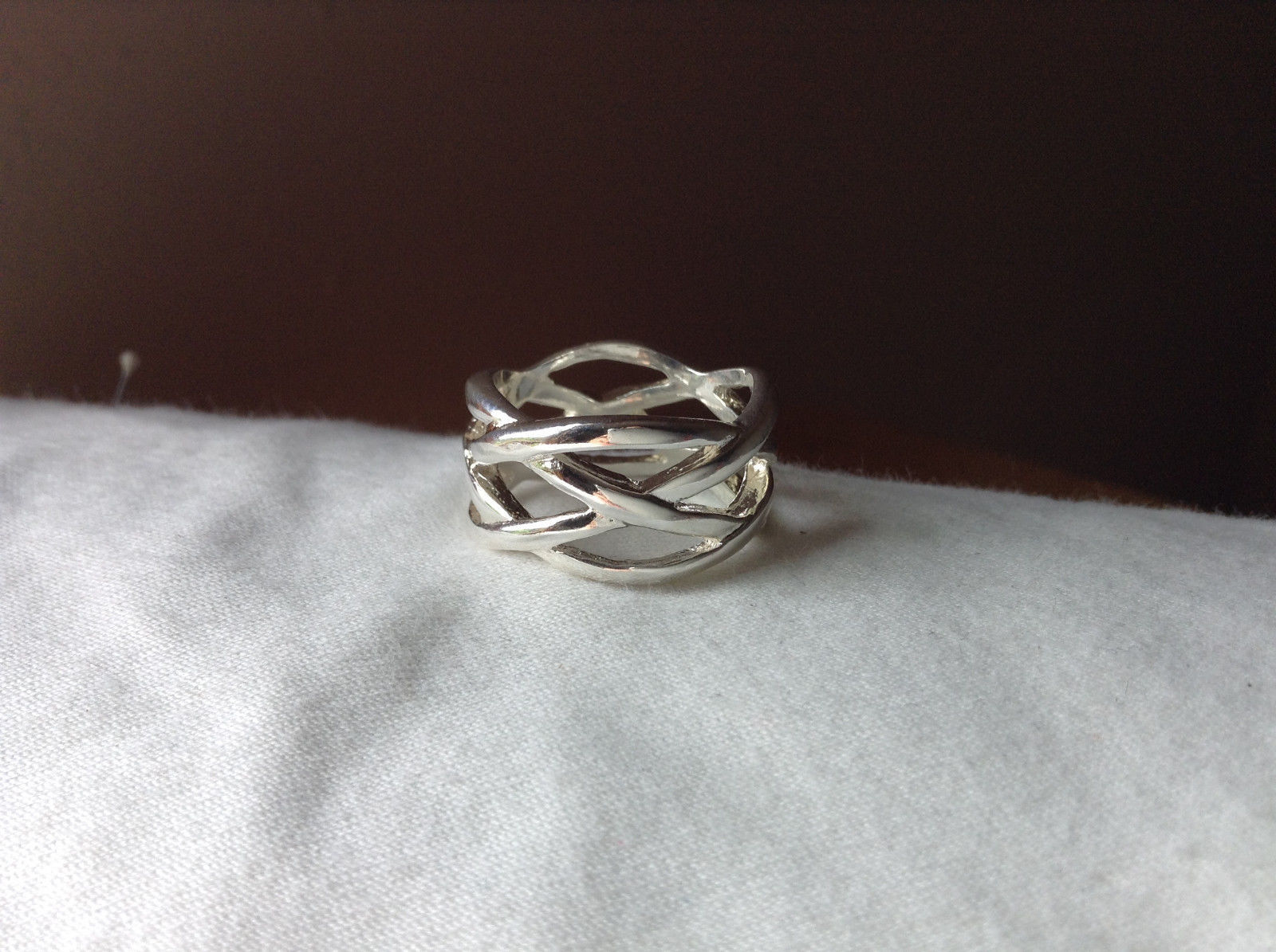Wide Braided Bands Silver plated  Ring Size 8.5 and 8.75 Sold Separately