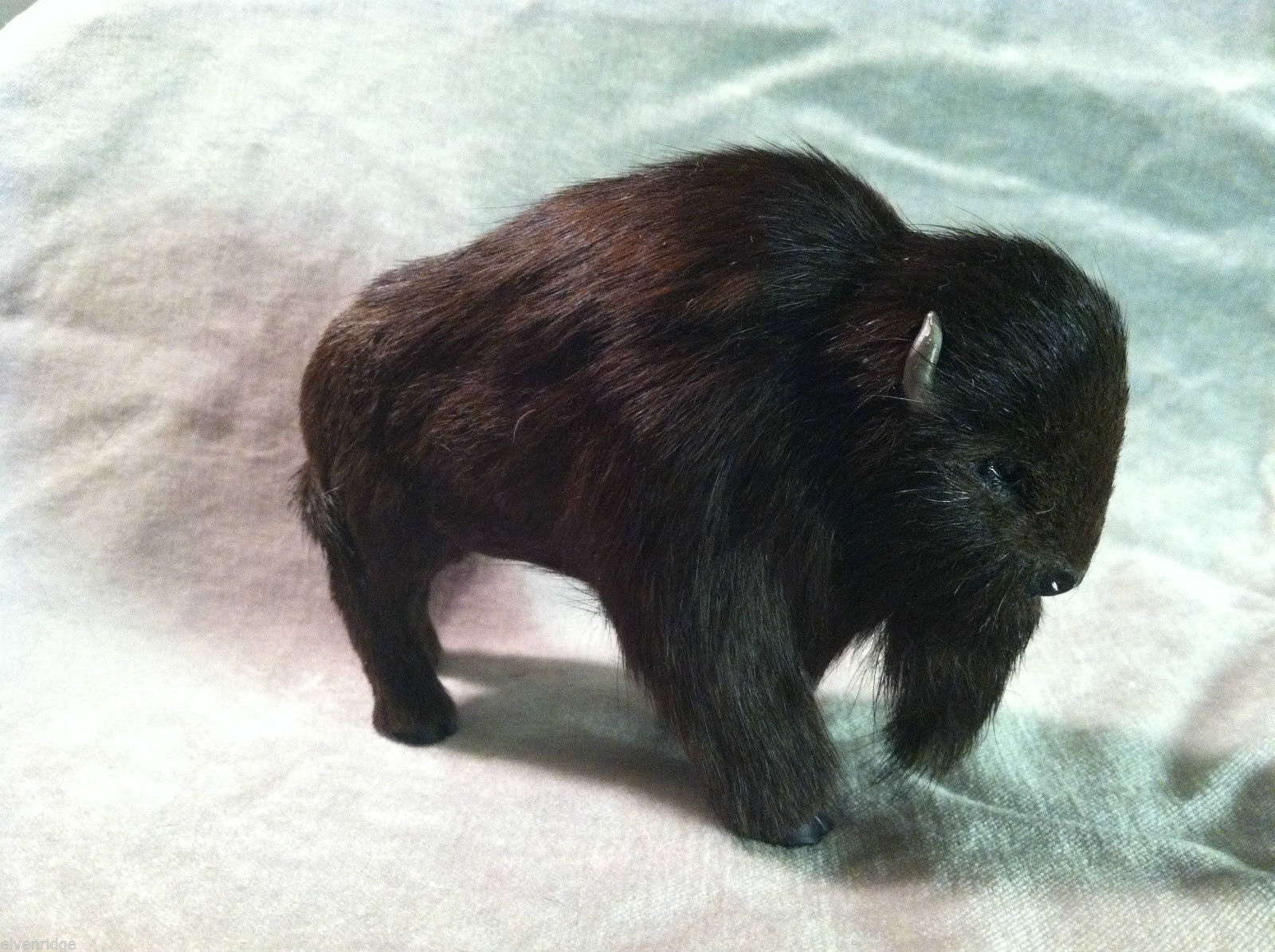Wild Black Buffalo Animal Figurine - recycled rabbit fur
