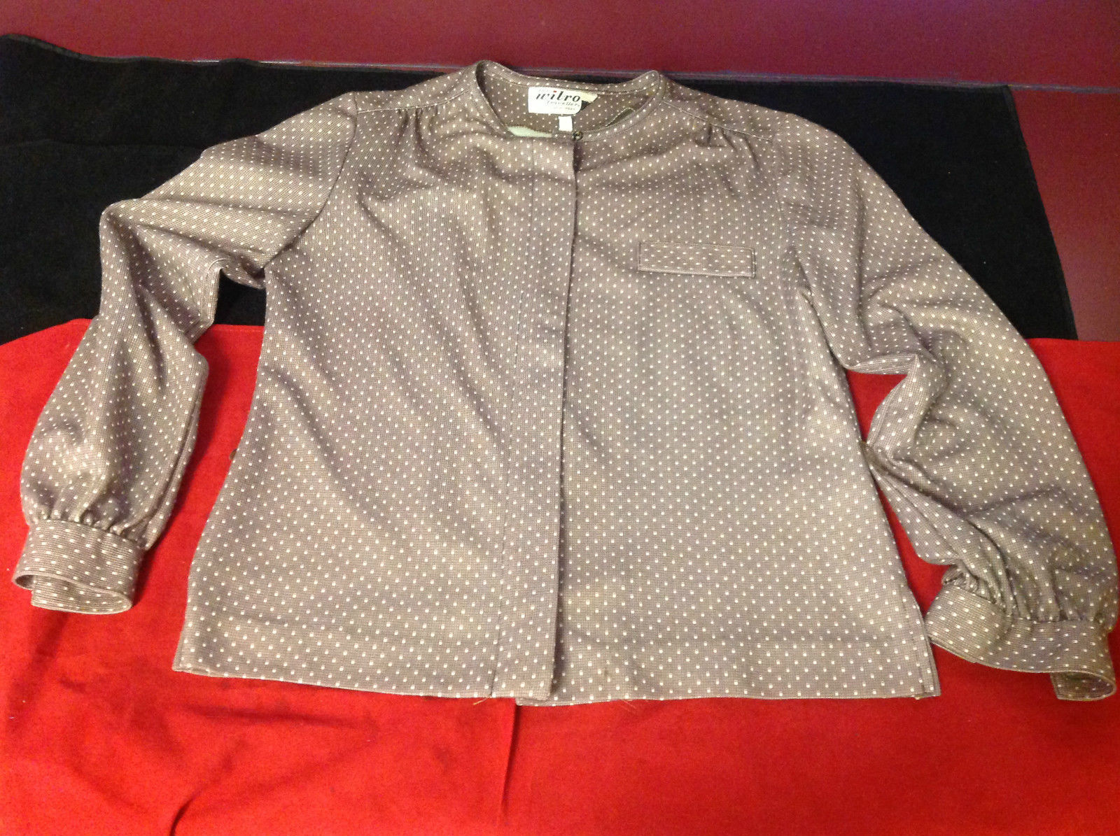 Wilroy Travelers Long Sleeve Brown Cream Polka Dot Blouse Size 10