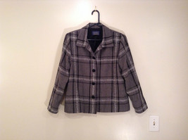 Willow Ridge Gray Black and White Pattern Long Sleeve Lined Blazer Button Front
