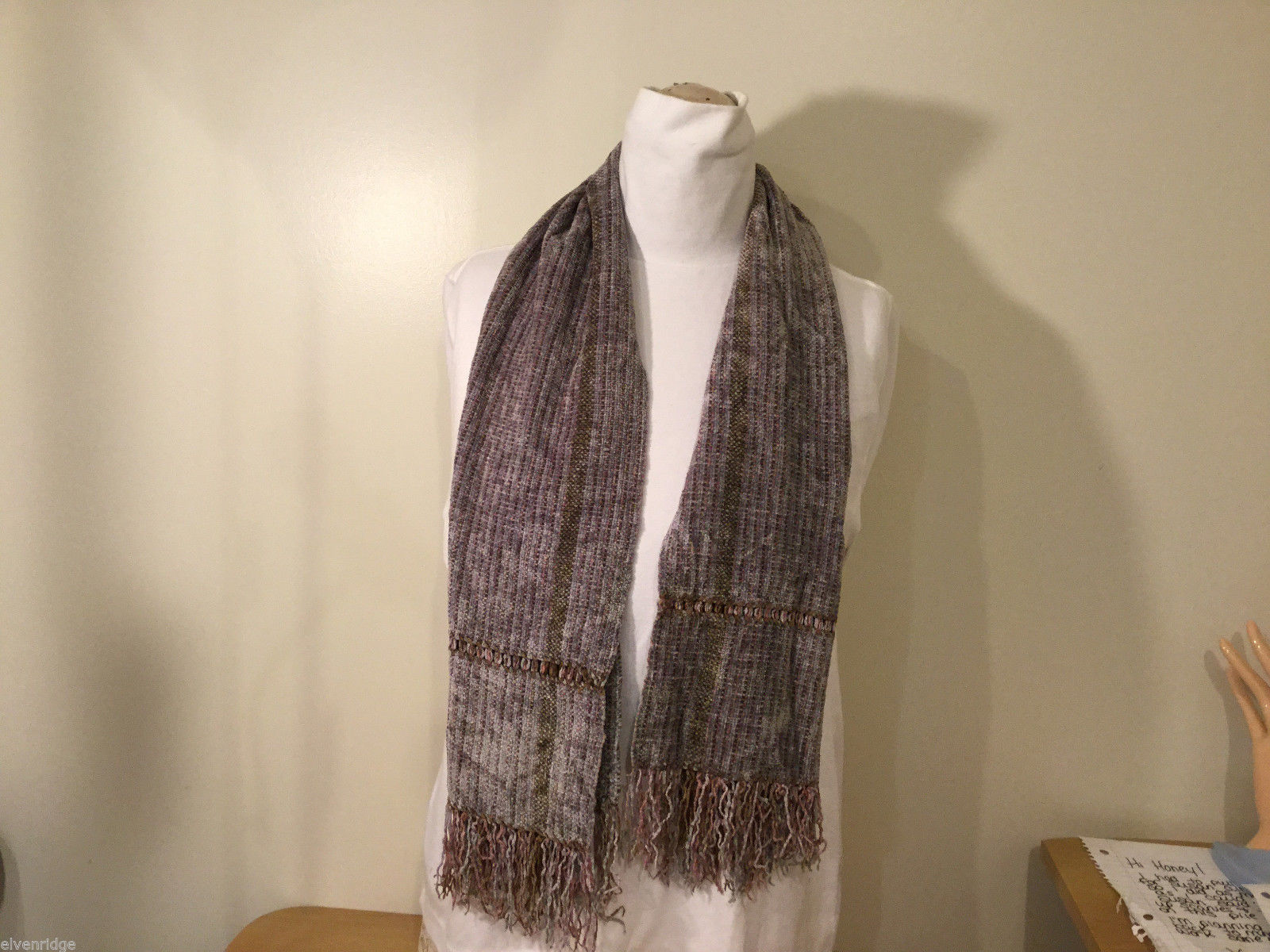 Winter Pastel Multi Colored Knitted Striped Scarf with Fringe