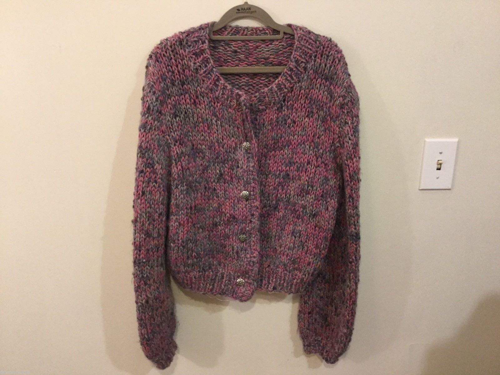 Womans Multicolored Cropped Knit Jacket, Size Unknown, See Measurements