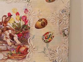 Spring Easter Bunnies Flowers Vintage Russian Artist Handmade Canvas L Mironova image 9