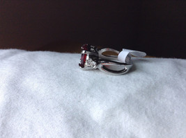 Square Red CZ with Round CZ Accents Stainless Steel Ring Size 6.75 image 2