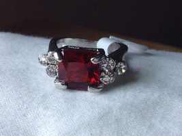 Square Red CZ with Round CZ Accents Stainless Steel Ring Size 6.75 image 7