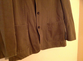 St. Johns Bay Olive Green Button Up Thigh Length Blazer  3 Front Pockets  Size L image 4