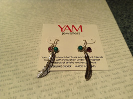 Sterling Silver Intricate Feather Earring with Semi Precious Stones image 2