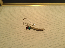 Sterling Silver Intricate Feather Earring with Semi Precious Stones image 3