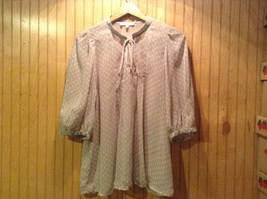 Women's Pajama Top Daniel Rainn Gray White Polka Dots Chest Tie
