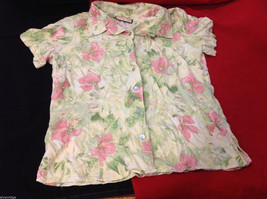 Womens Jamaica Bay Tropical White with Pink Flower Floral Blouse size Medium M