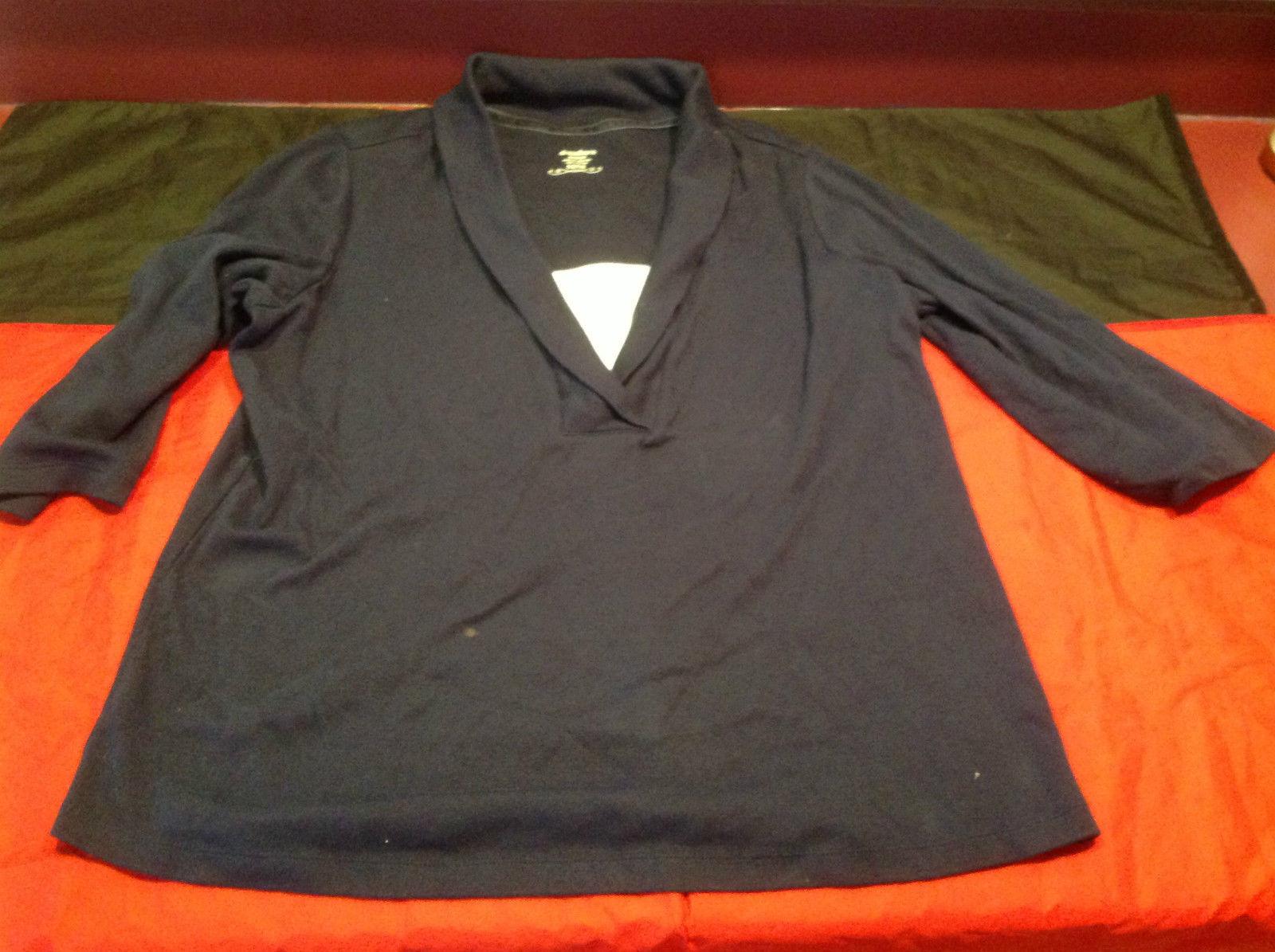 Womens Dressbarn Blue White Three Quarter Length Sleeves Blouse Size 14/16