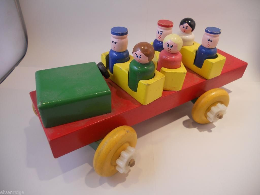 Wood Bus Toy with Moving Parts