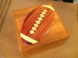 Wood Intarsia trinket box NEW with wood football on top