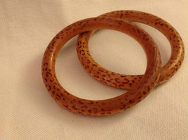 Wood bangles with leopard or cheetah print set of 2