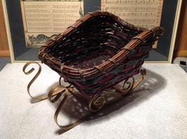 Wood and Metal Sleigh Woven Wood Dark Red and Green