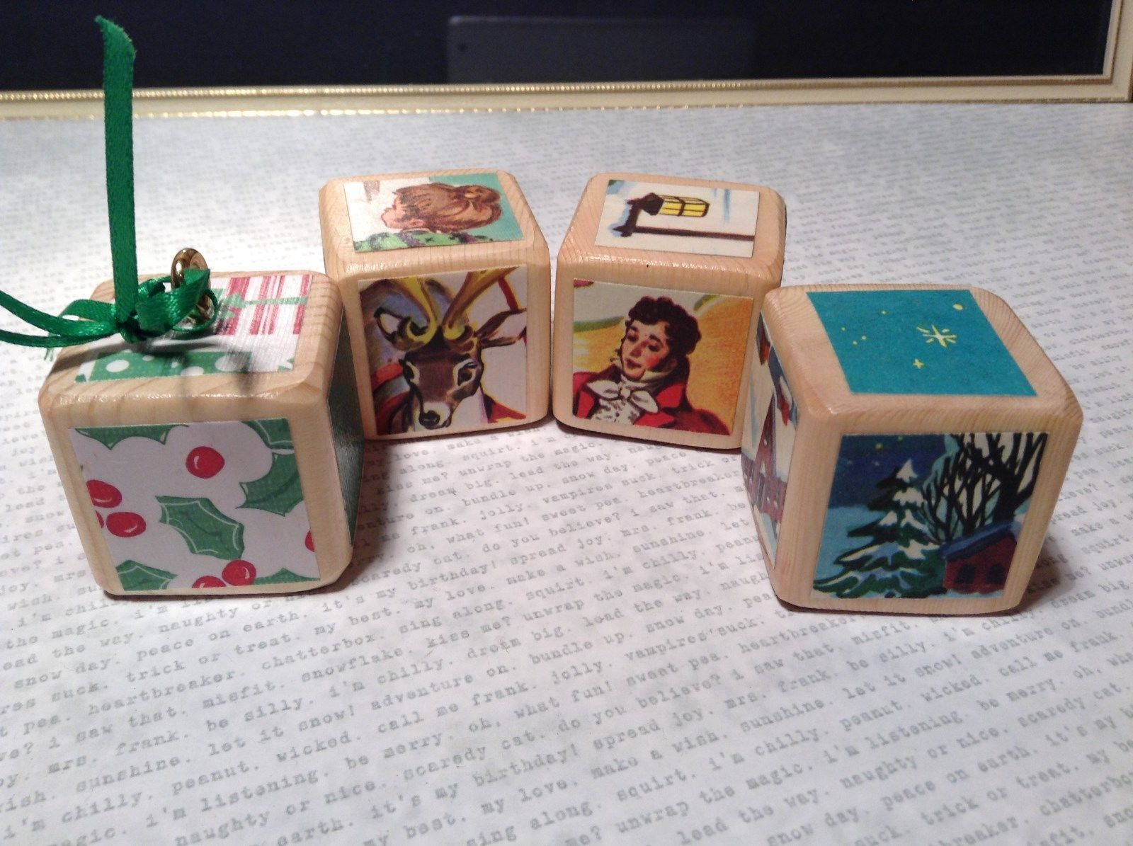 Wooden Cube Blocks vintage Pictures on Each Block Ribbon Display or ornament