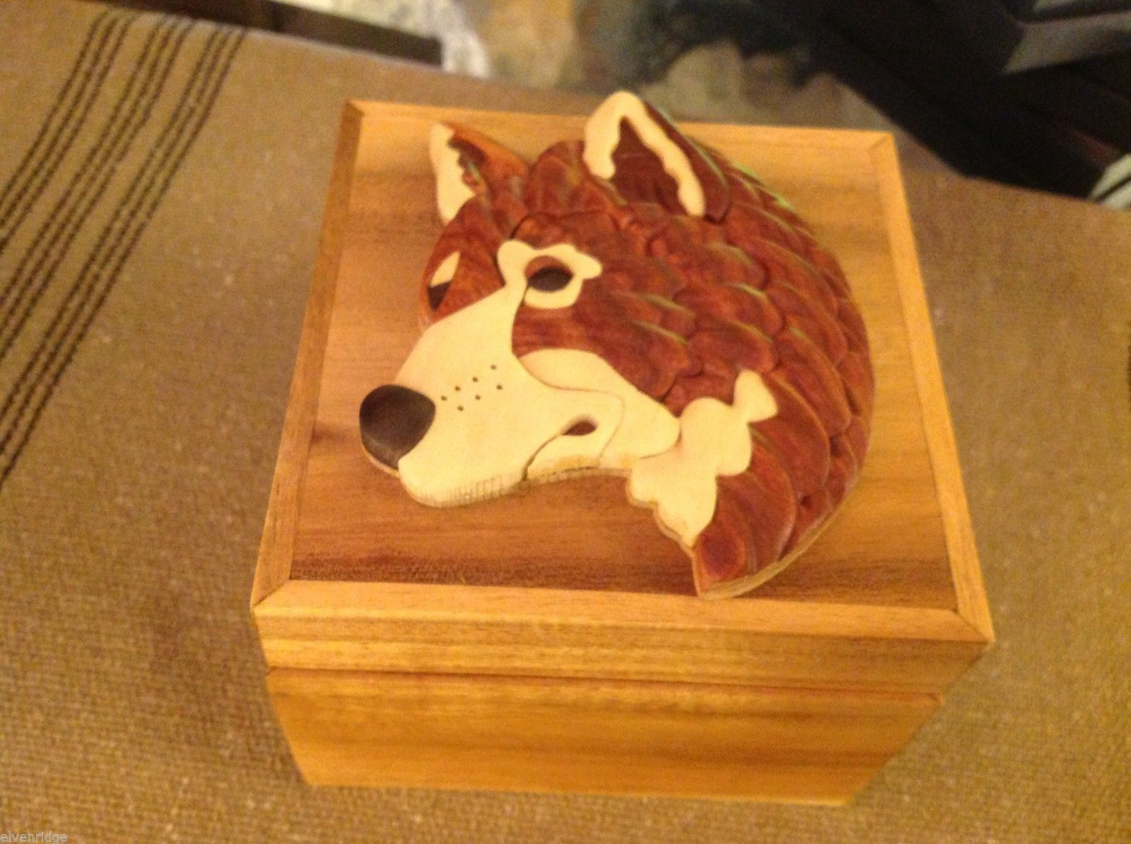 Wood Intarsia trinket box NEW with wood wolf head on top