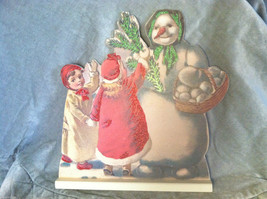 Wooden Stand Up Sign Snowman and Kids Christmas Decor