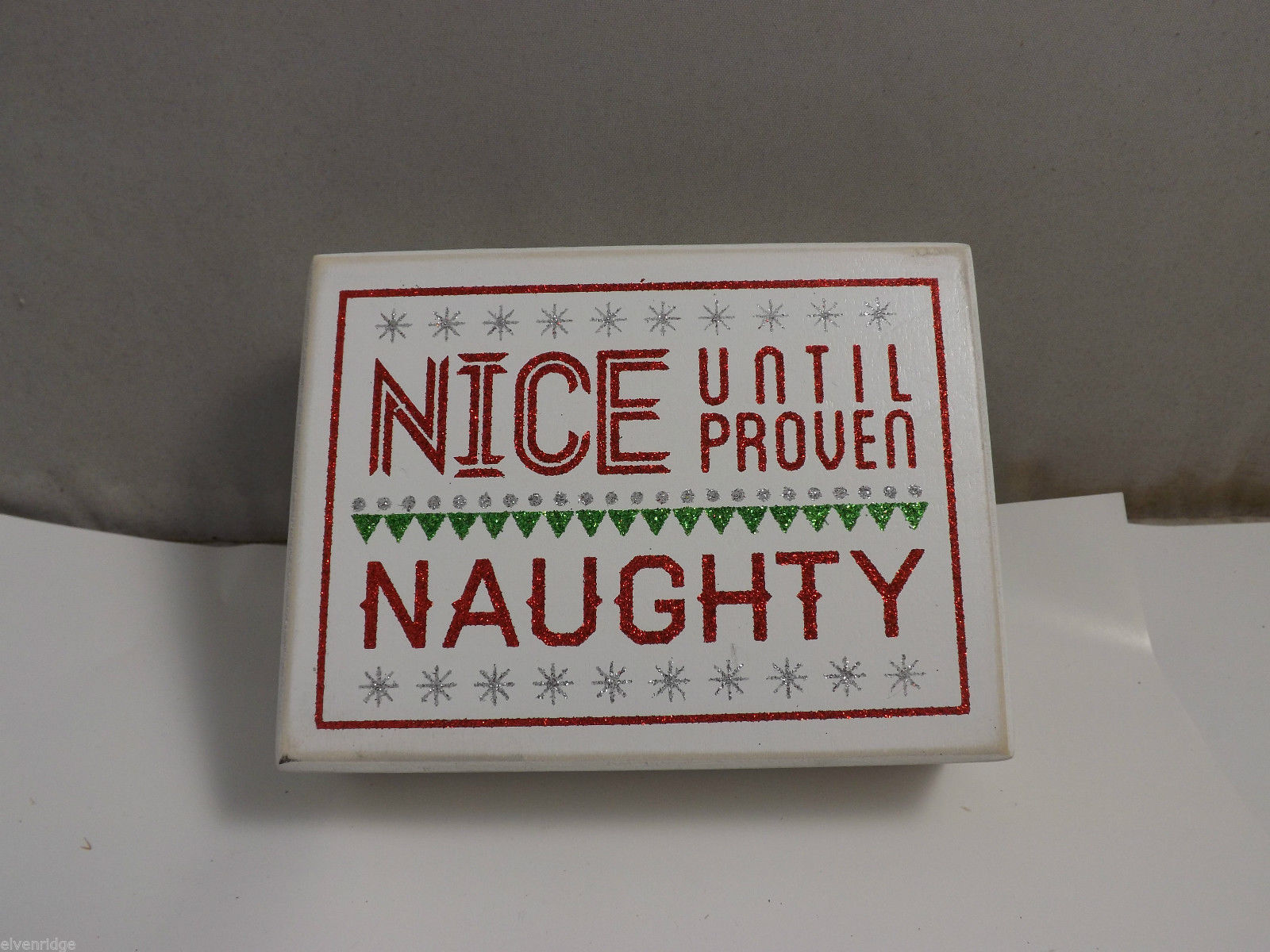 "Wooden Box Sign ""Nice Until Proven Naughty"" Holiday Christmas Decor"