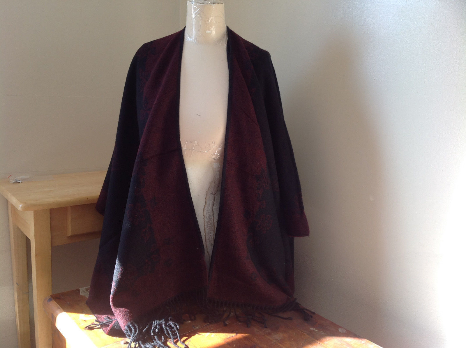 Wool Touch Black and Deep Red Large Shawl with Tassels Warm Ruana