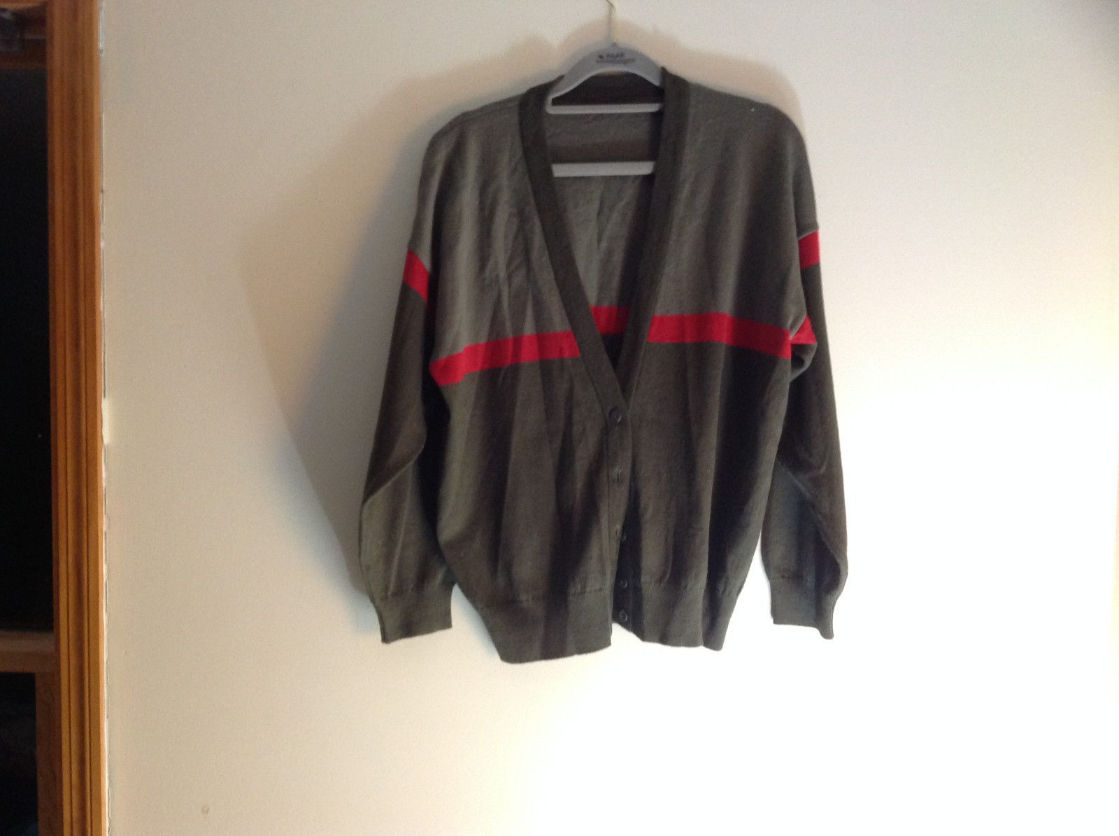 Woolite Dark Green Light Green with Red Strip Long Sleeve V-Neck Sweater No Tag