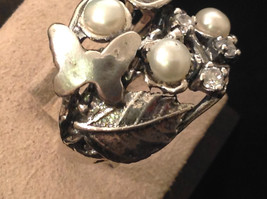 Sterling Silver Pearl Nature Inspired Butterfly Leaf Ring Size Choice 7 or 8 image 5