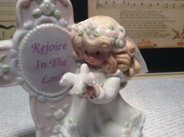Beautiful Angel Figurine with Sign Rejoice in the Lord Sign on Cross image 2