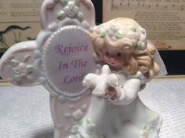 Beautiful Angel Figurine with Sign Rejoice in the Lord Sign on Cross image 3