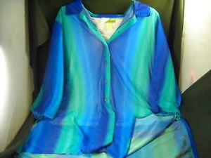 Womens Size2x Blue & Green Striped Sheer Tee w Tank(3x)