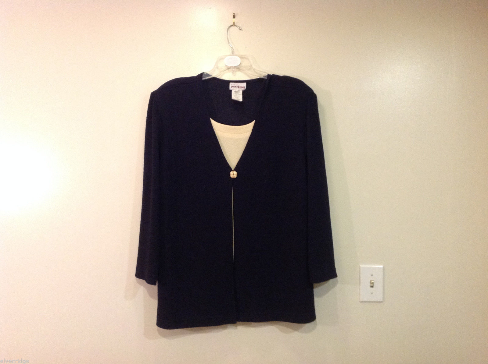 Womens Perceptions Navy Blue Top Jacket Blouse with Faux Beige blouse Size 20