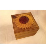 Wood Intarsia trinket box NEW with sunflower on top - $39.59