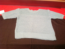 Womens Pretty Handmade Light Blue Sweater 2/3 Length Sleeves 19 Inch W 23 Inch L