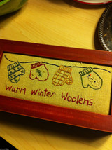 Wood Gift Box w Stitching Padded Top Warm Winter Woolens Mittens