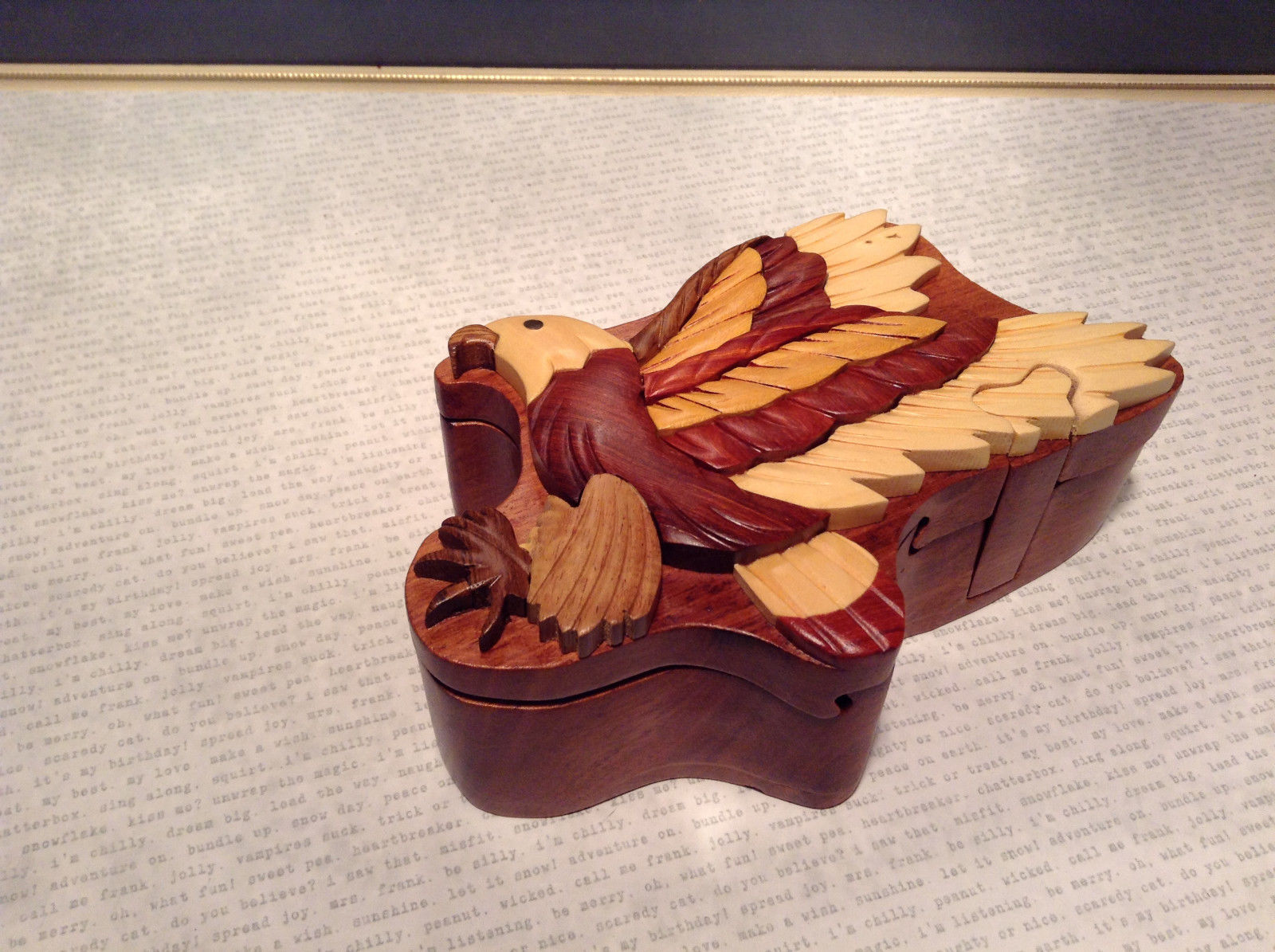 Wooden Hand Carved EAGLE Puzzle Trinket Box