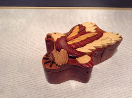 Wooden Hand Carved EAGLE Puzzle Trinket Box - $49.49