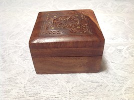 Wooden Jewelry Box Carved Design on Front Padded Inside Dark Wood