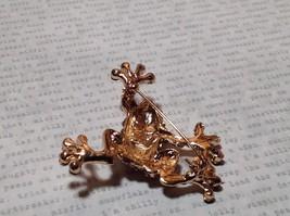 Beautiful Crystal Frog Rose Gold Tone Pin Brooch Hinge Closure image 5