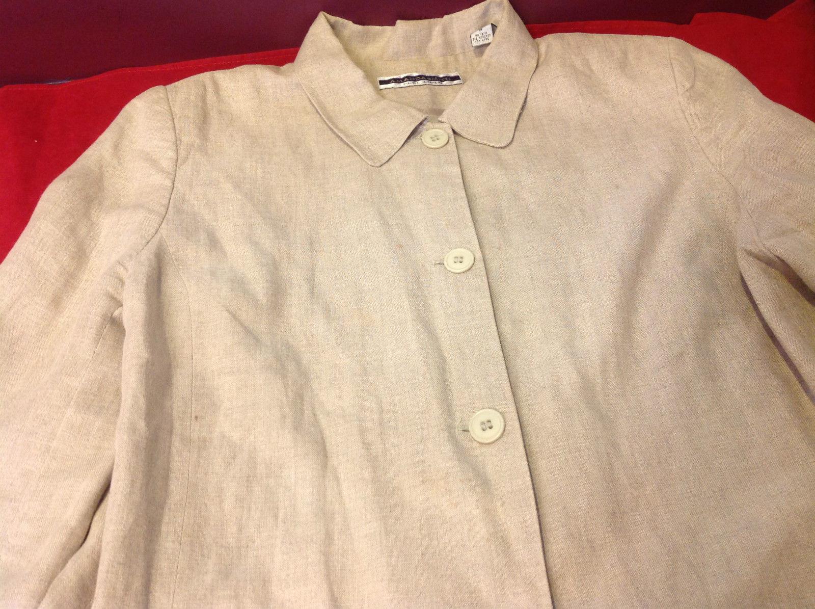 Womens Pure linen womans blazer size 14 cream light brown Armand Smith