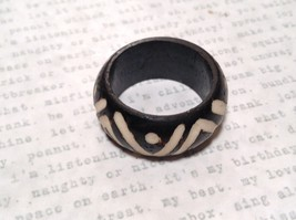 Wooden Hand Carved Ring With V Pattern Size 5, 7, 8, 10