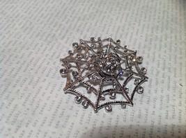 Beautiful Crystal Spider Silver Tone Pin Brooch Hinge Closure image 2