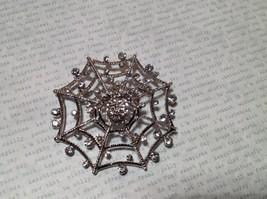 Beautiful Crystal Spider Silver Tone Pin Brooch Hinge Closure image 3