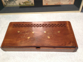 Wooden Trinket Box or Incense holder  Golden Leaves and Vines on Top filigree