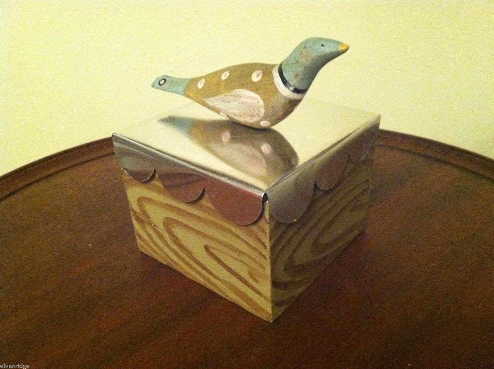 Wooden Spring Bird - blue head polka dot body - on hand painted trinket box