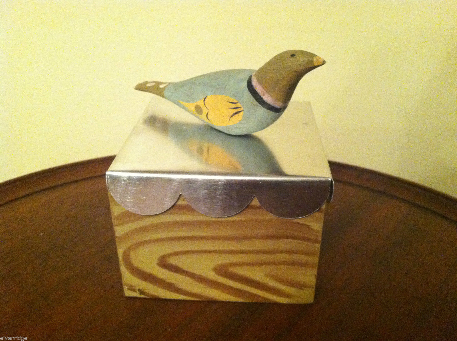 Wooden Spring Bird - green head blue body - on hand painted trinket box