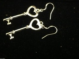 Sterling silver plated heart with key dangle earrings 925  sterling ear wires image 4