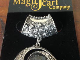 Striking Round Black Stone and Crystals Silver Tone Scarf Pendant by Magic Scarf image 3